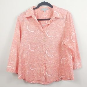 Foxcroft Button Down Top 100% Cotton Wrinkle Free